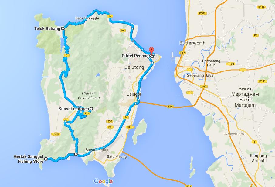 Пенанг и мой маршрут на карте